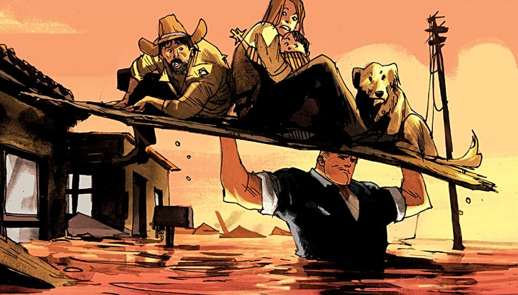 Huck (Image Comics) (Mark Millar) saving people from a flood