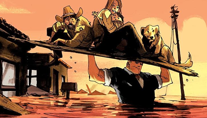 Huck (Image Comics) (Mark Millar) saving people from a flood