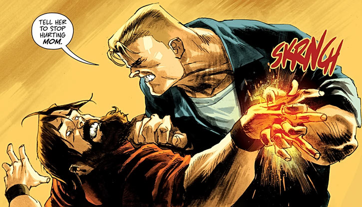 Huck (Image Comics) (Mark Millar) breaking a man's hand