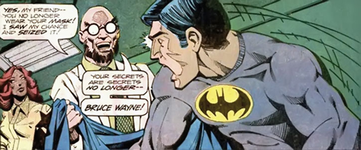 Hugo Strange unmasks Batman (Bruce Wayne)
