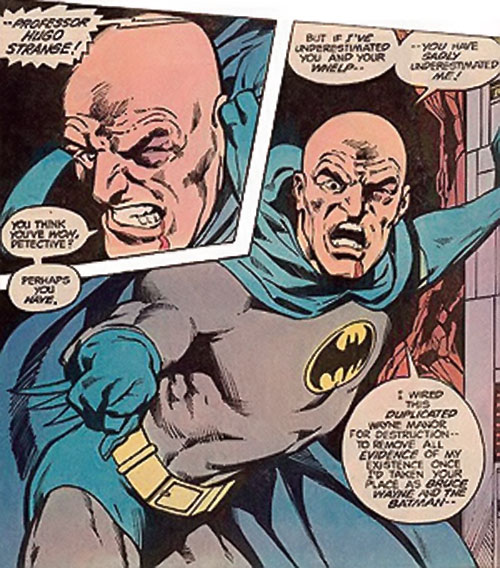 A bloodied and shaved Hugo Strange (Batman enemy) (DC Comics) in his Batman costume