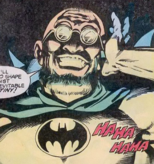 Hugo Strange (Batman enemy) (DC Comics) grinning in his Batman costume