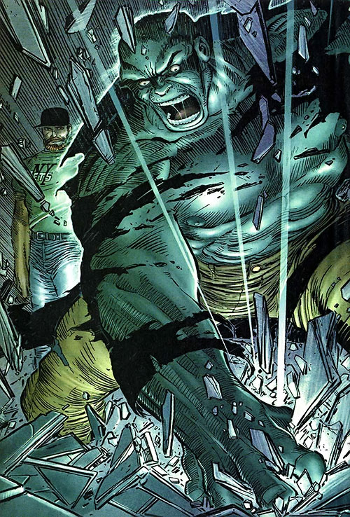 Hulk (Marvel Comics iconic) smashing the ground