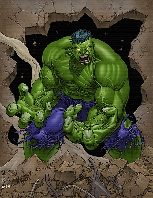 Hulk (Marvel Comics iconic) smash through a wall glowing eyes