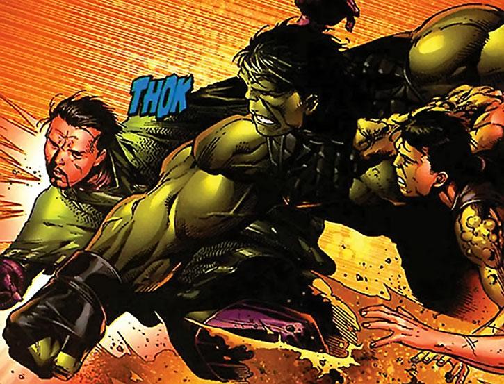 Hulkling (Teddy Altman) punches Kang