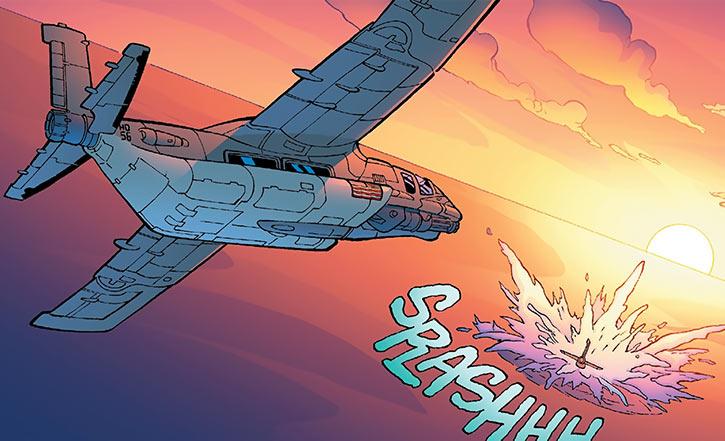 A Human Defense Corps amphibious plane diving in (DC Comics)
