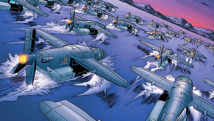 Human Defense Corps amphibious planes on the river Styx (DC Comics)
