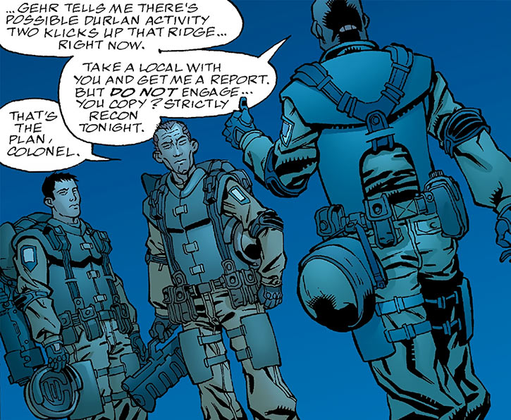 Human Defense Corps soldiers being briefed (DC Comics)
