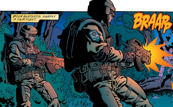 Human Defense Corps soldiers open fire on guerrillas (DC Comics)