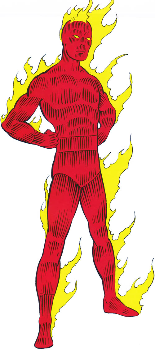 Human Torch Johnny Storm from the 1983 Official Marvel Comics Handbook