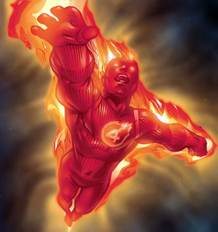 The Human Torch (Johnny Storm) in flight