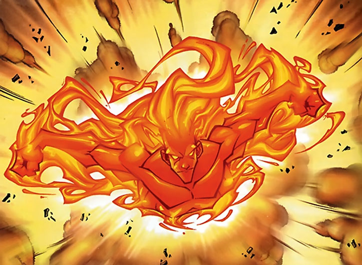 The Human Torch (Johnny Storm) flies in