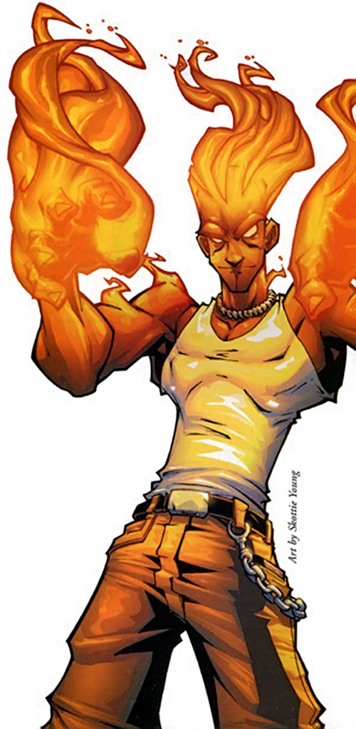 Human Torch of the Fantastic 4 (Marvel Comics) by Sean Young, aflame in casual clothing