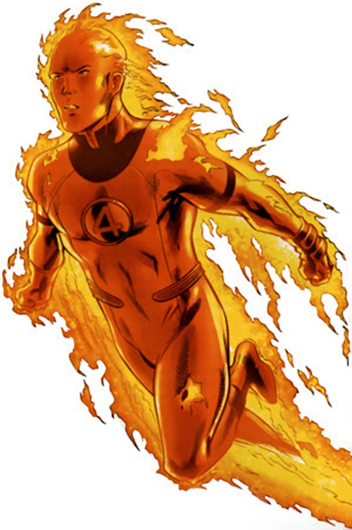 Human Torch of the Fantastic 4 (Marvel Comics) flying with a light flame