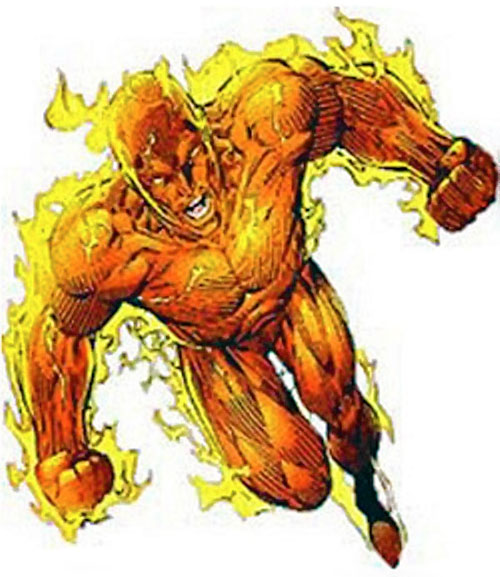 Human Torch of the Fantastic 4 (Marvel Comics) flying in a power pose