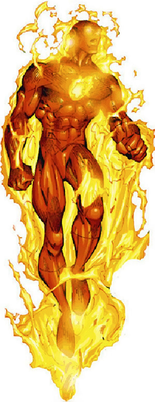 Human Torch of the Fantastic 4 (Marvel Comics) hovering and burning
