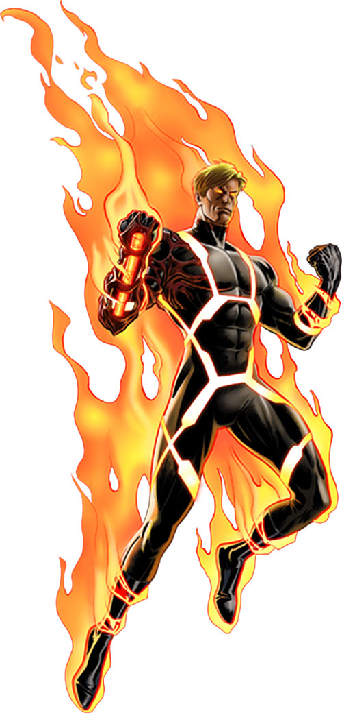 Human Torch of the Fantastic 4 (Marvel Comics) in his black costume