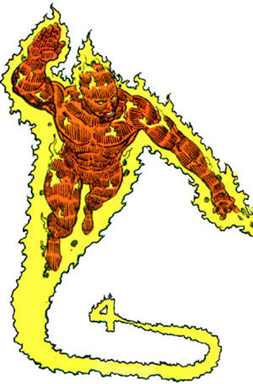Human Torch of the Fantastic 4 (Marvel Comics) creating a 4 symbol in the sky