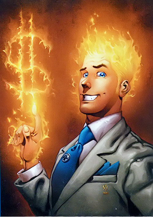Human Torch of the Fantastic 4 (Marvel Comics) in a business suit making a dollar sign