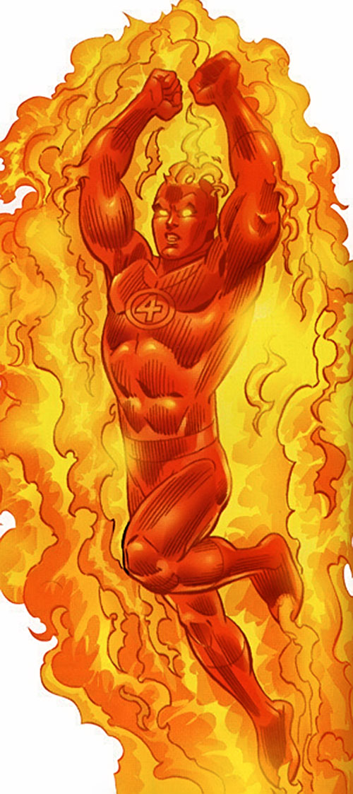 Human Torch of the Fantastic 4 (Marvel Comics) flying up with a big flame corona