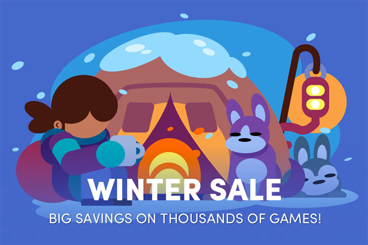 Cute illustration for the 2018 Humble Bundle winter sale
