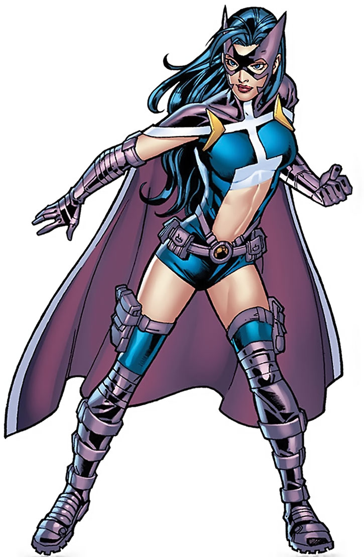 Huntress (Helena Bertinelli) with the belly window costume