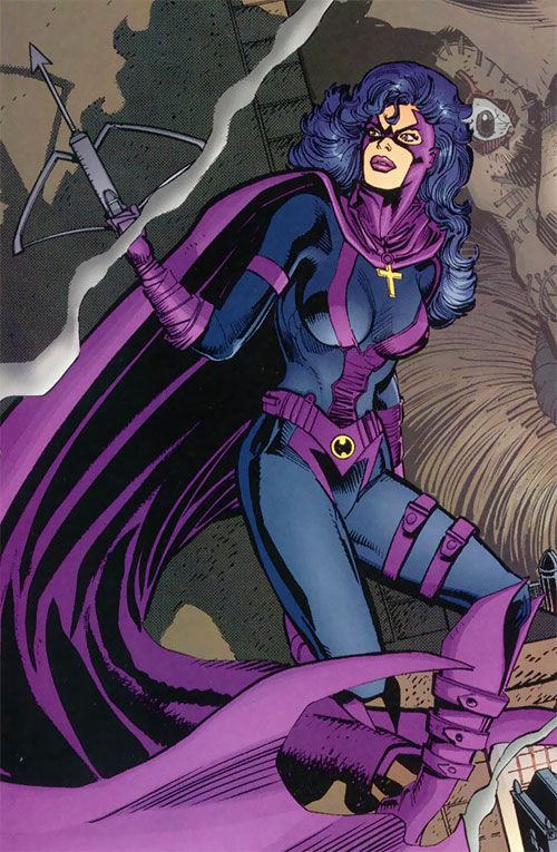 Huntress (Helena Bertinelli) (DC Comics) in the full-body black and violet costume