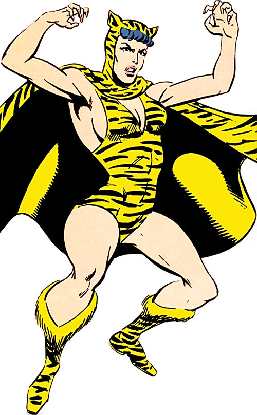 Huntress (DC Comics) (Paula Brooks) aggressive pose during the 1970s