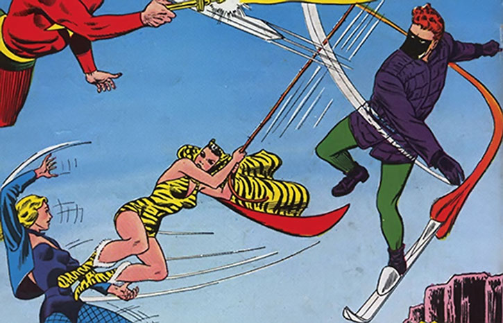 Huntress (Paula Brooks) and Sportsmaster vs. Starman and Black Canary