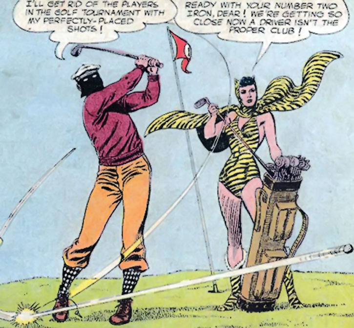 Huntress (Paula Brooks) and Sportsmaster playing crime golf