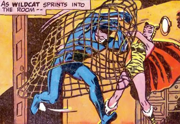 Huntress (Paula Brooks) catches Wildcat in a net