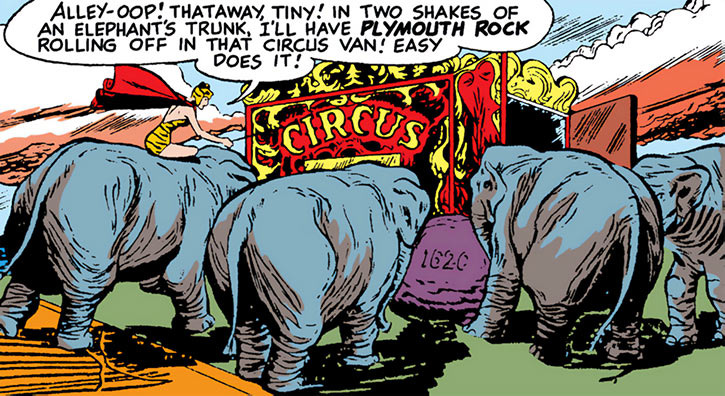 Huntress (Paula Brooks) steals the Plymouth Rock with a band of elephants