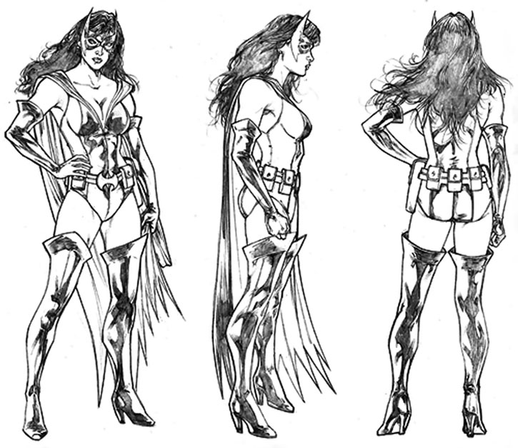 Huntress (Helena Wayne) sketched model sheet