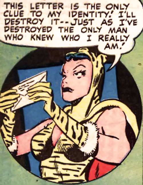 Huntress (Wildcat enemy) (DC Comics Golden Age) holding a letter