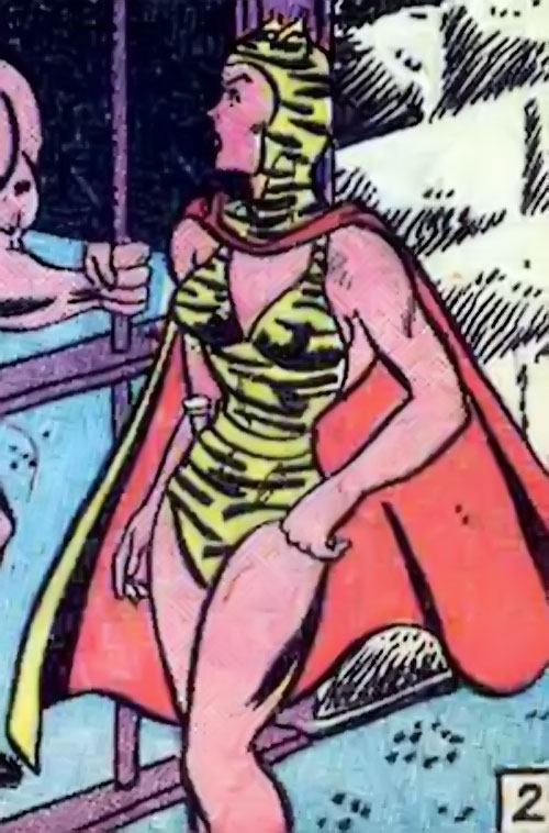 Huntress (Wildcat enemy) (DC Comics Golden Age) outside a prison cell