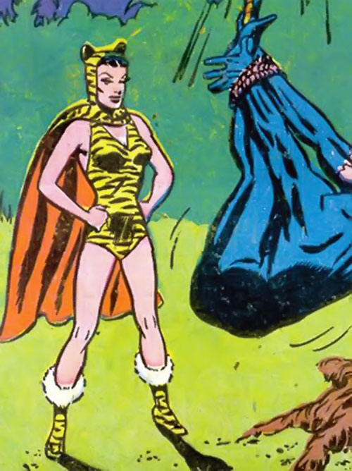 Huntress (Wildcat enemy) (DC Comics Golden Age) caught Wildcat in a jungle trap