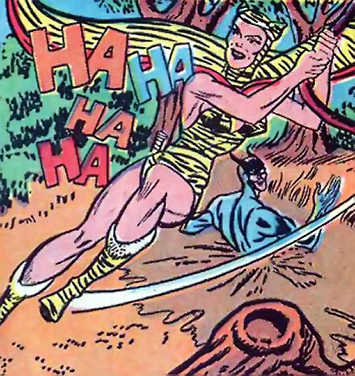 Huntress (Wildcat enemy) (DC Comics Golden Age) leaving Wildcat caught in quicksand