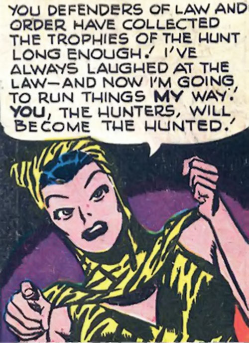 Huntress (Wildcat enemy) (DC Comics Golden Age) speechifying