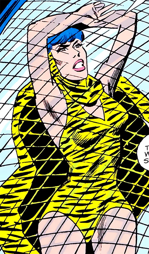 Huntress (Wildcat enemy) (DC Comics Golden Age) caught in a net