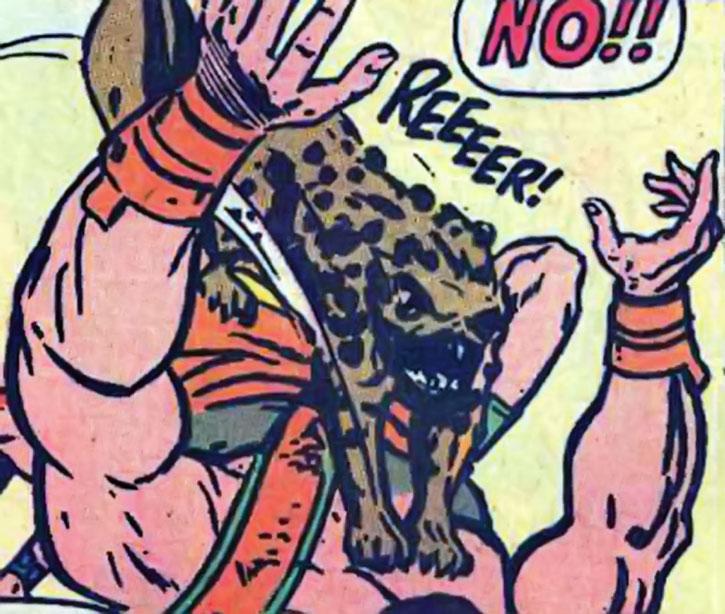 The Huntsman of Zeus' shadow hound attacks Hercules