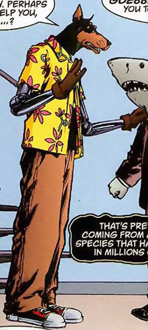 Hyperdog (Top Ten comics) in a floral Hawaiian style shirt