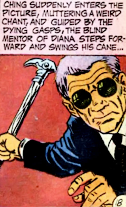 I-Ching (Wonder Woman ally) (DC Comics) raises his cane