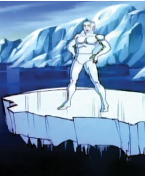 Iceman (Spider-Man Amazing Friends cartoon) on an ice bridge over a polar sea