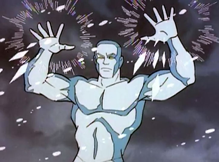 Iceman (cartoon version) uses his powers
