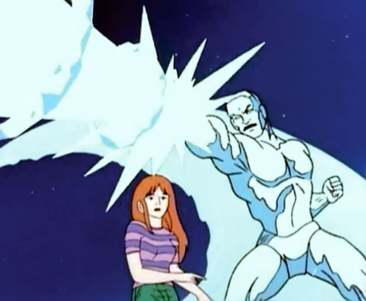 Iceman (cartoon version) casts a large ice beam