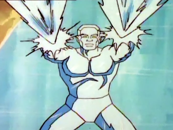 Iceman (cartoon version) shoots ice from his hands