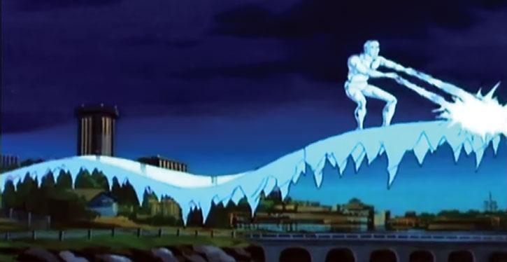 Iceman (cartoon version) on an ice ramp