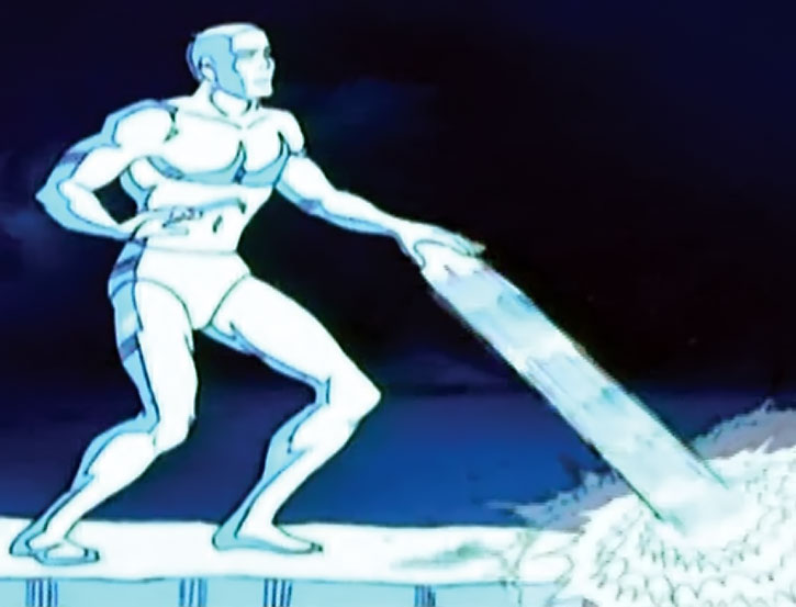 Iceman (cartoon version) creates an ice slide