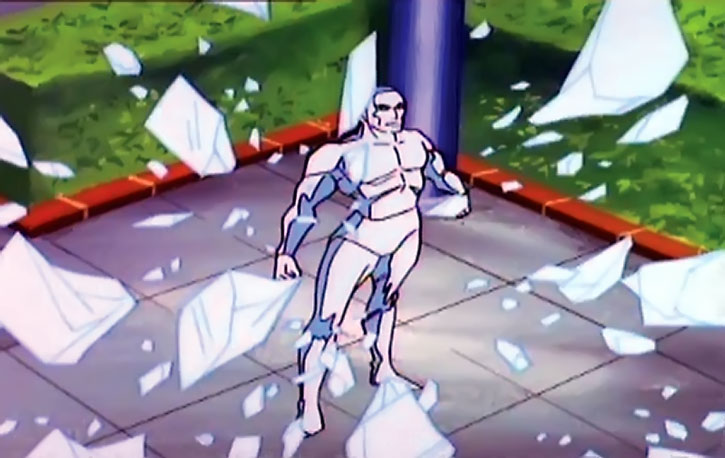 Iceman (cartoon version) amidst falling blocks of ice