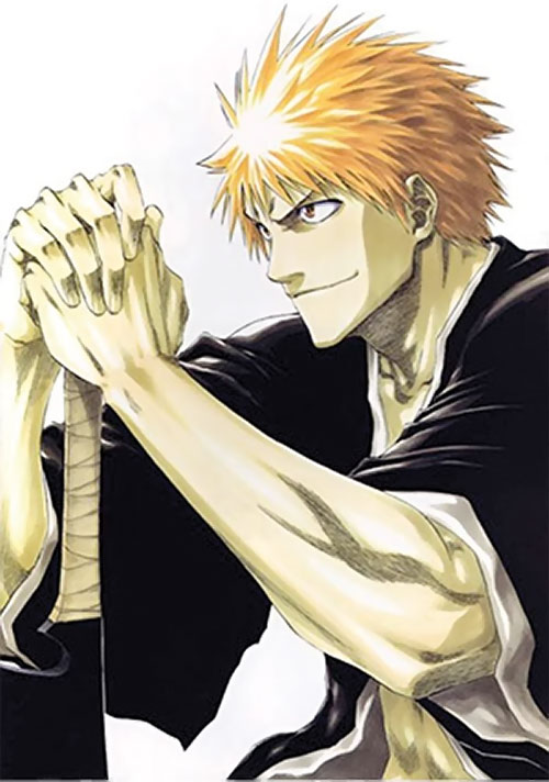 Ichigo Kurosaki from the Bleach manga smirking